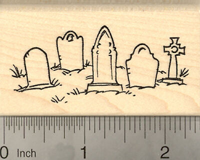 Halloween Graveyard Rubber Stamp, with Tombstones Cemetery Scene H22402 - Halloween Graveyard Scenes