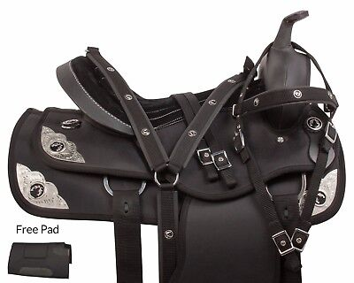 BLACK USED SYNTHETIC WESTERN PLEASURE TRAIL HORSE SADDLE TACK SET 16 17 18