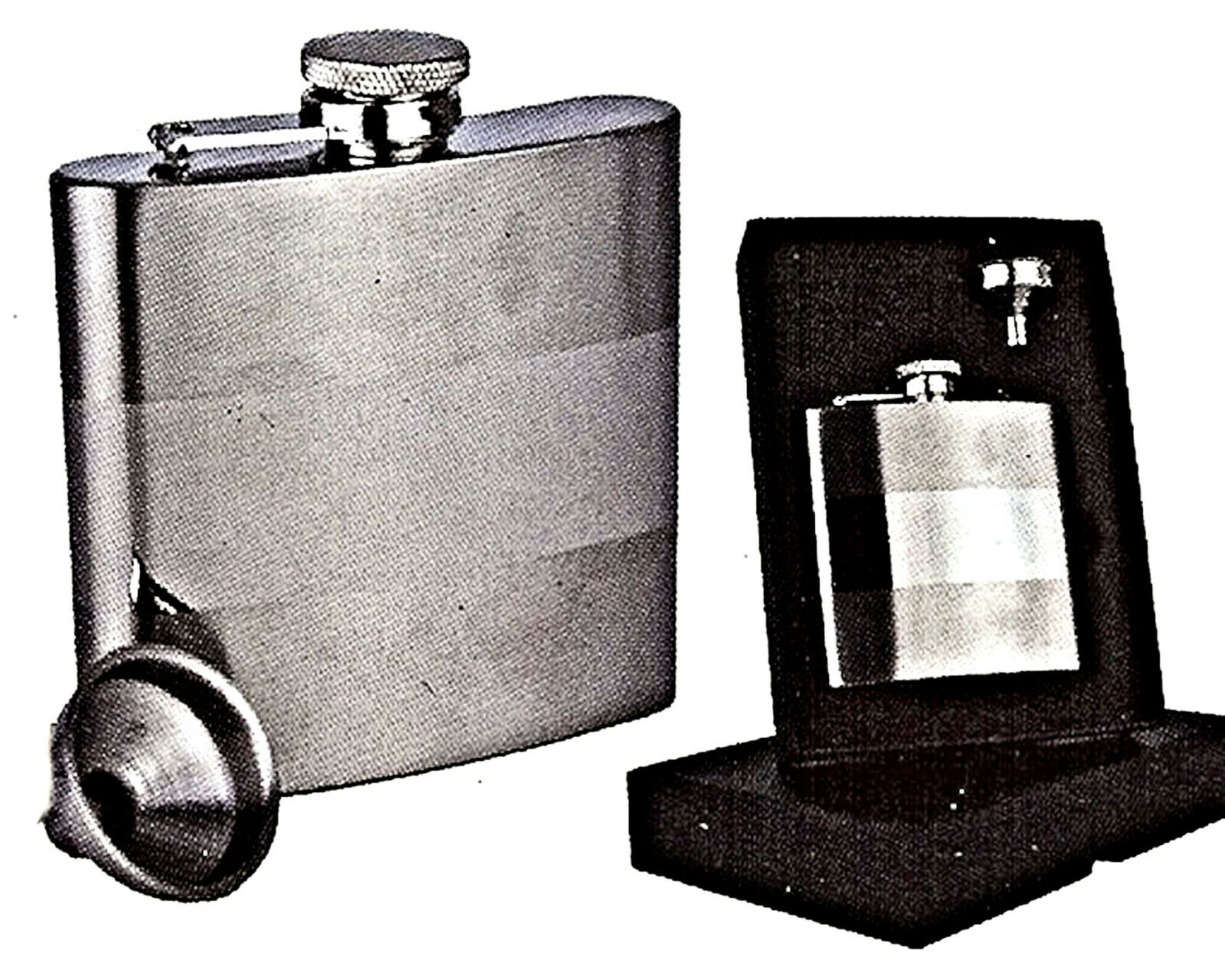 6oz Stainless Steel Hip Flask with funnel in presentation box