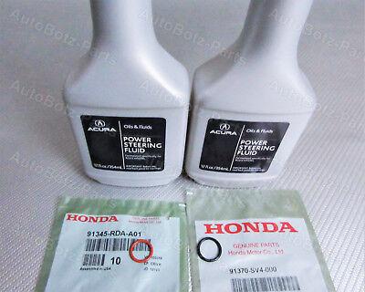 OEM GENUINE Acura Power Steering Pump Oil O-Ring Seals & Fluid - 4 pc Reseal Kit Acura Power Steering Pump