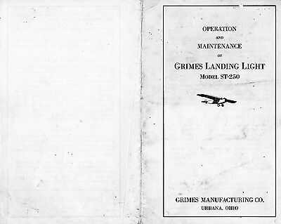 Installation diagram for Grimes self retractable aircraft landing light ST-250