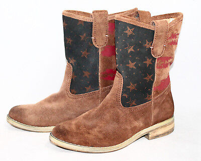 Denim Ankle Boot (NWOB DENIM & SUPPLY Ayla Pull On Ankle Boot Wo's 5.5B Brown Red Suede Stars )