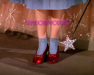"JUDY GARLAND 8x10 Lab Photo Color 1939 ""WIZARD OF OZ"" Ruby Red Slippers, Heels"