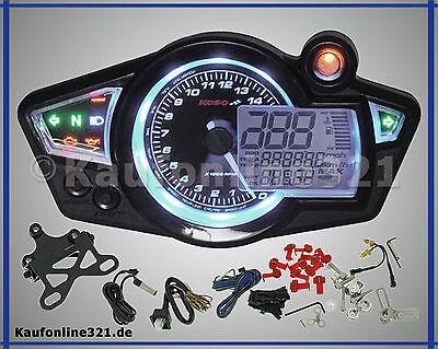 KOSO RX1N+ Cockpit Tachometer Drehzahlmesser  Tacho NEU schwarz weiß beleuchtet,
