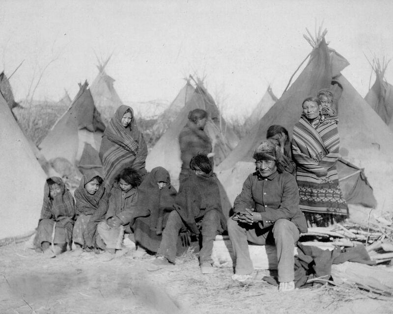 Photo of the Survivors of Wounded Knee Massacre 1891 - Lakota Native Americans