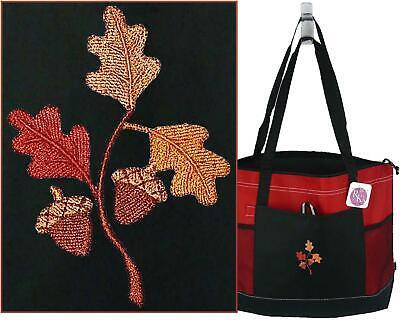 Acorn & Tree Branch Monogram Bag Red Gemline Zip Tote Fall Autumn Harvest Gift