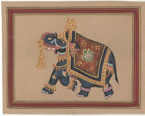 Mughal+Art+Ethnic+Painting+Miniature+Handmade+Paper+Elephant+Gold+Work+Painting