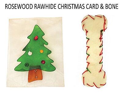 2 PCK ROSEWOOD RAWHIDE DOG CHEW TREATS CHRISTMAS CARD & 20 CM BONE 38600/05