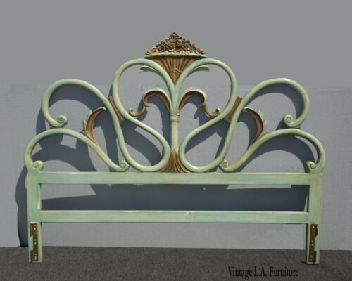 Vintage French Country Provincial Rococo Green King Headboard w Scrolls