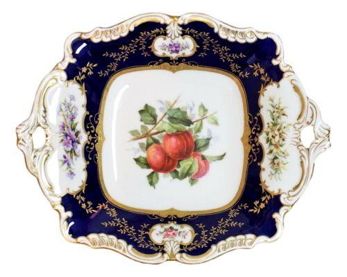 Antique Coalport Hand Painted Fruit Raised Gold Cobalt Blue Handled Plate / Tray