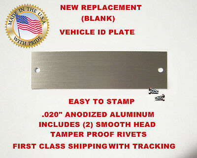 NEW (Blank) Chevy GM GMC Chevrolet Vin Tag Data Plate Vehicle Identification USA
