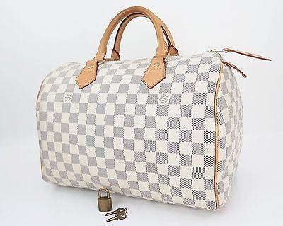 Authentic LOUIS VUITTON Speedy 30 Damier Azur Boston Hand Bag Purse #25895