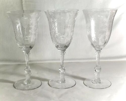 """3 Cambridge Crystal Rose Point 8 1/4"""" 10 oz. Water Goblets"""