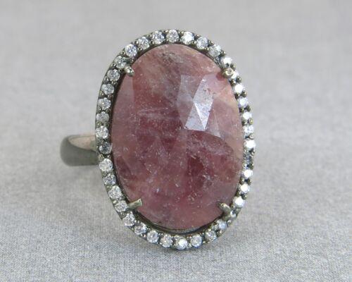 8.00ct Rose Cut Ruby & Diamond Cut White Sapphire 925 Silver Cocktail Ring
