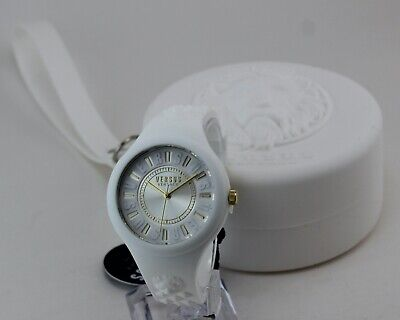 NEW AUTHENTIC VERSUS VERSACE FIRE ISLAND WHITE SILICONE WOMEN'S VSPOQ0618 WATCH