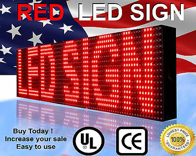 Marquee Led Sign 76x6 Outdoor Programmable Red Color Display Open Time Message