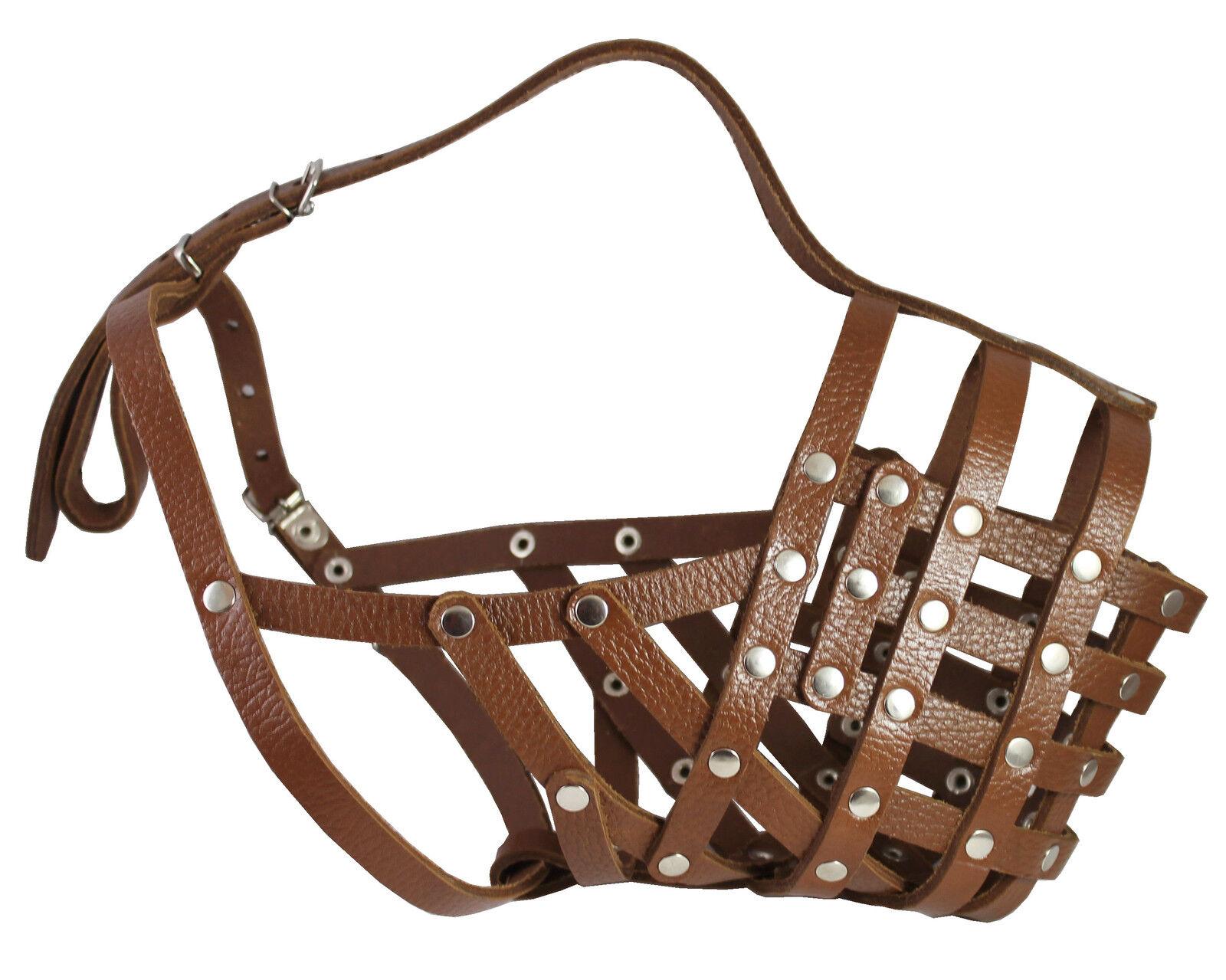 Secure Genuine Leather Basket Dog Muzzle Mastiff Saint Berna