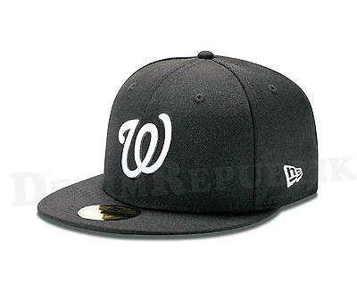 White Washington Hat - New Era 5959 WASHINGTON NATIONALS Black White Hat MLB Baseball Fitted Cap