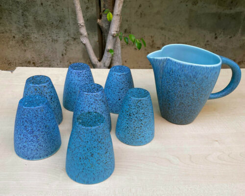 Modernist FELIX TISSOT Desert Gemstone Pitcher & 7 Cups Taxco Mexico