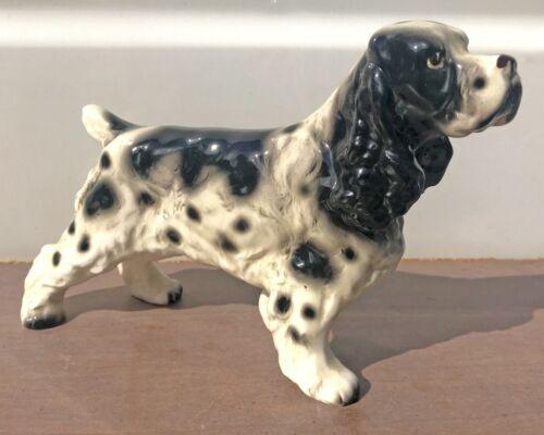 "Vintage Ceramic Collectible Dog Figurine Springer Spaniel 8.5""L 5""T"
