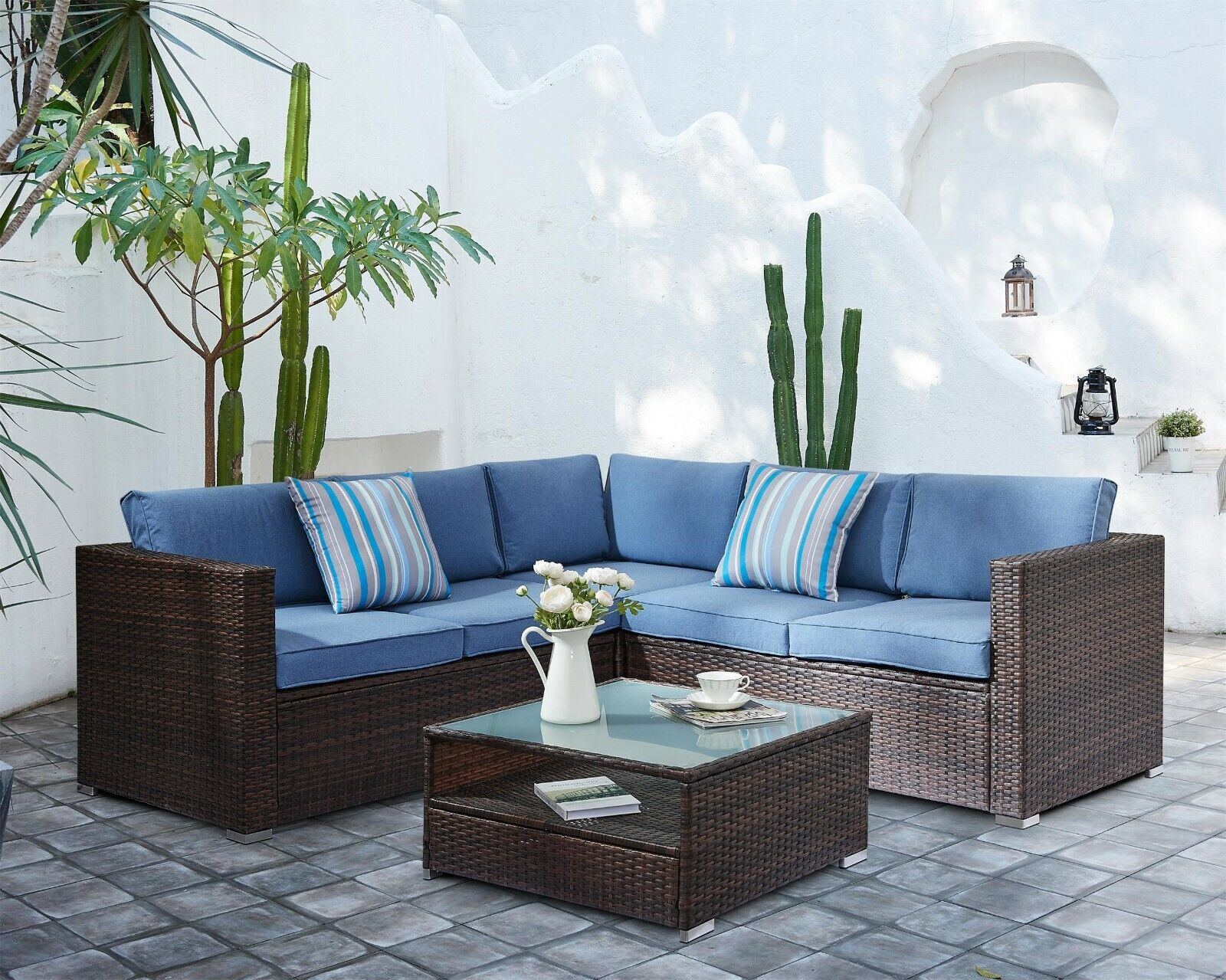 Garden Furniture - Corner Rattan Garden Furniture Dining Set Outdoor Patio Table L-Shaped Sofa Set