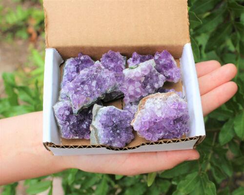 Natural Amethyst Cluster Druzy Box: 7 - 9 oz  (6 - 10 Piece) Geode Wholesale