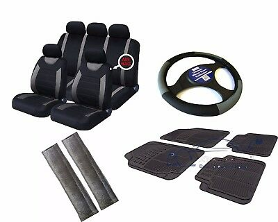 Carnaby Grey/Black Universal Car Seat Covers Set + Matching Interior Accessories