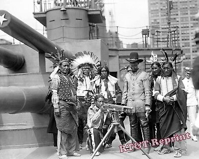 Photograph Indian Chief Bald Eagle on the USS Recruit New York Year 1919 8x10