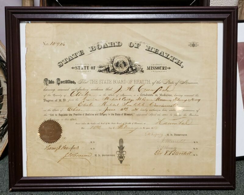 1884 Missouri State Board of Health Medical Practice Certificate