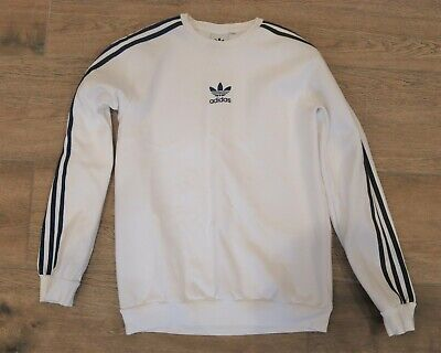 Womens Adidas Jumper  Size 12 White 3 Stripe Sweatshirt - Faint Marks
