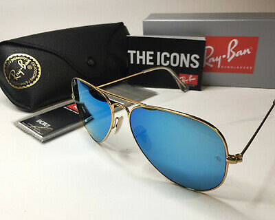 Cheap Gold Frames (Ray-Ban RB3025  Aviator - 112/17 Blue Flash Mirrored Lens/ Gold Matte Frame)