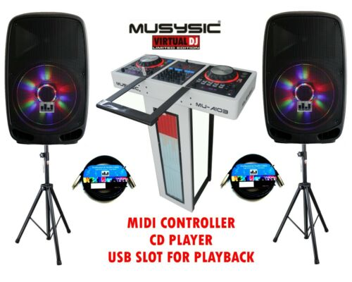 """Complete Professional DJ System 4000W MIDI Controller CD USB Active 15"""" Speakers"""