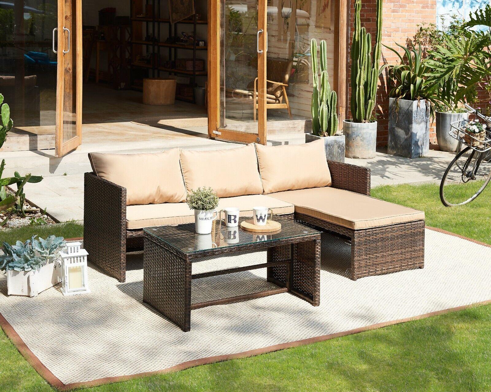 Garden Furniture - Rattan Garden Furniture Sofa Set Brown or Black Patio Outdoor Corner Lounge Seat