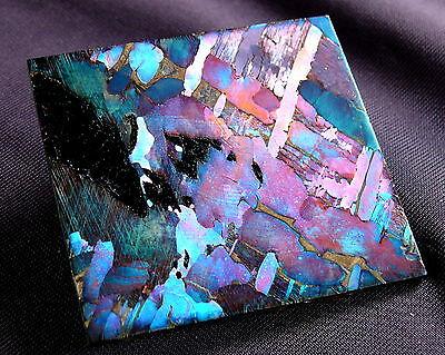 Ungewöhnlicher Meteorit Pallasit Seymchan aufwändiges Ätzverfahren 43x40x2mm 26g