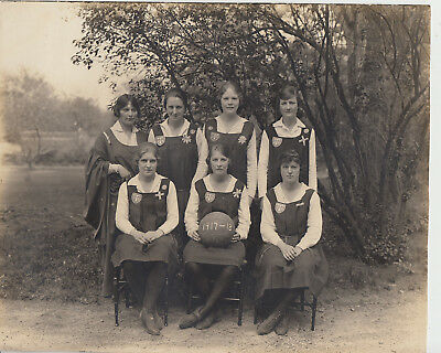 Great photograph of 1917-18 Trafalgar Institute Montreal ladies basketball team
