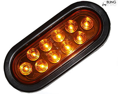 "1 AMBER 6"" Oval Sealed LED Turn Signal Parking Light  Grommet Plug Truck Trailer"