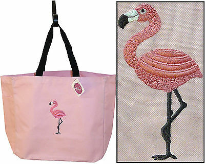 Flamingo Tropical Bird Vacation Beach Bag Custom Embroidered Essential Tote](Custom Tote Bags)