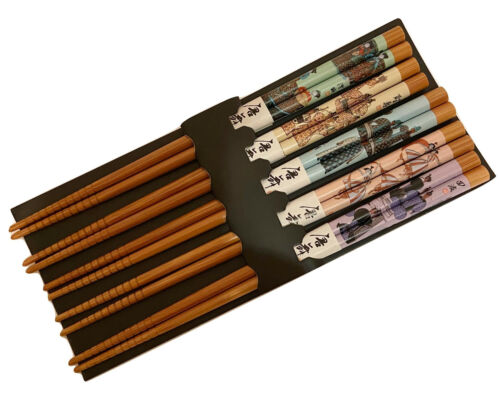 Kafuh Wooden Chopsticks with Colorful Asian Figural Art Set, 5 pairs Box.