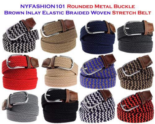 Nyfashion101 Rounded Metal Buckle Brown Inlay Elastic Braided Woven Stretch Belt