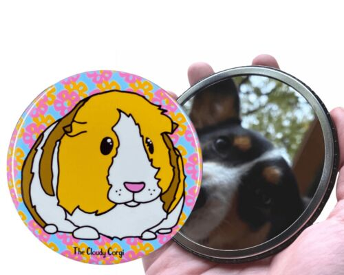 Tropical Guinea Pig Art Pocket Mirror Floral Cavy Purse Accessories and Gifts
