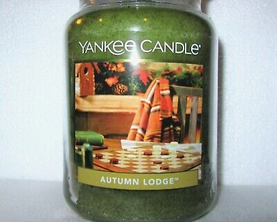 "Yankee Candle Retired ""AUTUMN LODGE"" ~ Fresh ~ Large 22 oz.~ WHITE LABEL~ NEW"