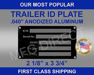 Blank Med Trailer Truck Equipment Vin Frame Plate Serial Model Id Tag Gvwr