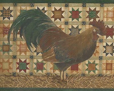 Folk Art Rooster - Country Quilt - Gold Brown - ONLY $9 - Wallpaper Borders A374