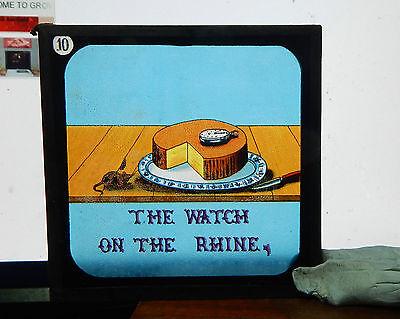 Victorian Glass Magic Lantern Slide humour The Watch On the Rhine