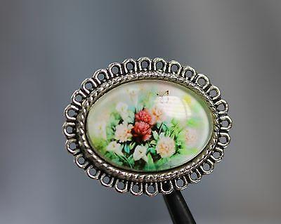 / Wunderschön gestalteter Glaskuppel-Zierknopf - Rosenmotiv - wohl ab 2010