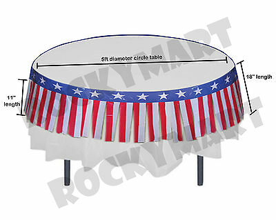 Fringe Table Skirts (14ft PATRIOTIC FRINGE TABLE SKIRT Memorial Day 4th of July Party Decor)