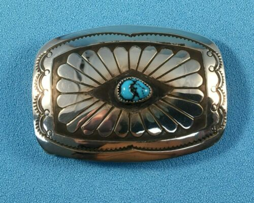 Navajo Silver Belt Buckle w/  Stamped Designs & Turquoise by Joann Silver, NEW