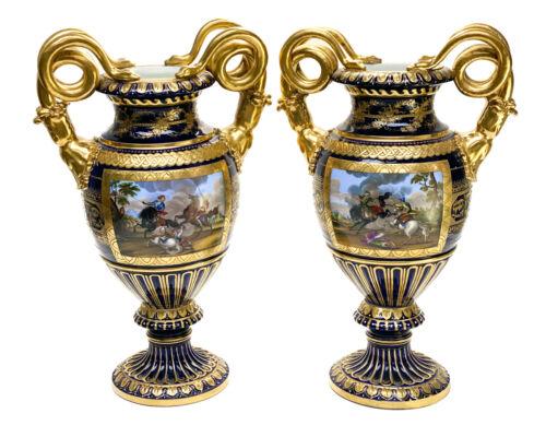 Pair Royal Vienna Austrian Hand Painted Porcelain Twin Handled Urns, c1900