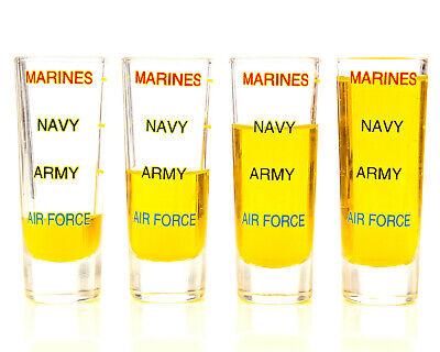 Marine Corps Shot Glass Military Levels 4pk Veteran-FREE 2-3Day Shipping Marine Corps Glass