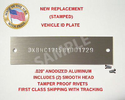 NEW (Stamped) Chevy GM GMC Chevrolet Vin Tag Data Plate Vehicle Identification